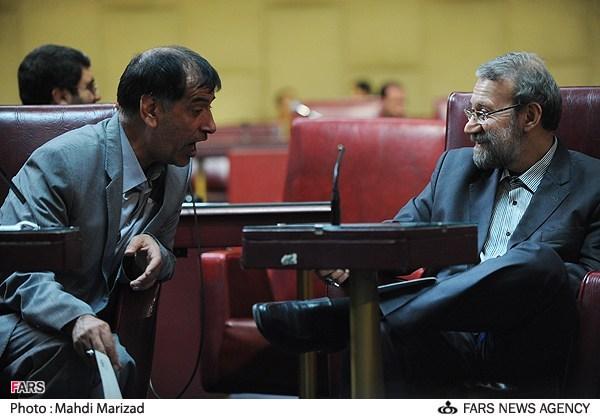 علی لاریجانی و محمدرضا باهنر در جلسه فراکسیون موسوم به رهروان ولایت